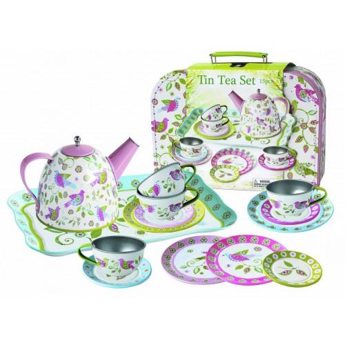 Children's Pretend Play Pastel Bird Tin Tea Set in Case