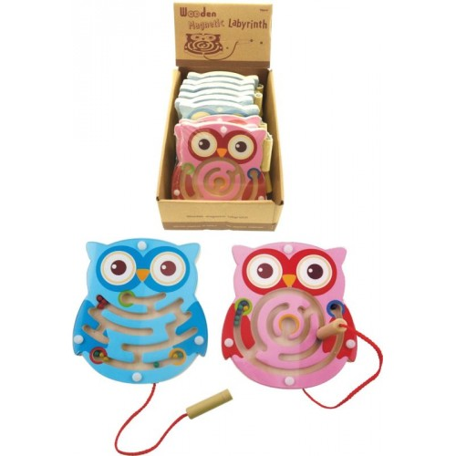 Wooden Owl Magnetic Maze