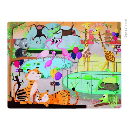 Tactile Puzzle 'A Day at the Zoo' - 20pcs