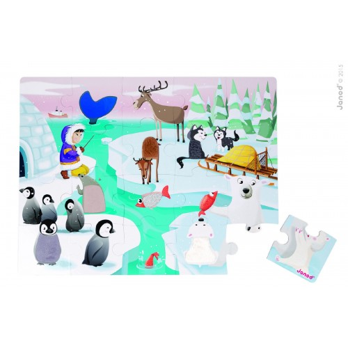 Janods- Tactile Puzzle 'Life on Ice' - 20pcs