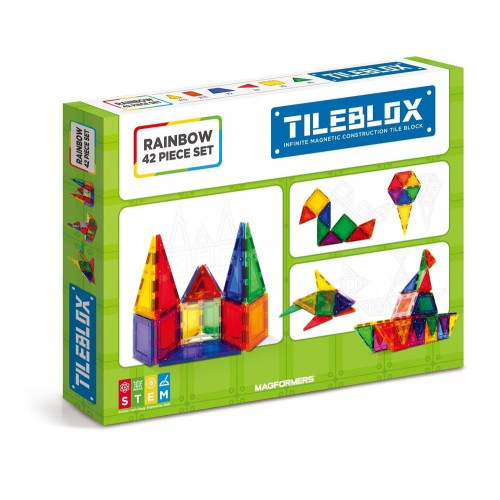 TileBlox Magnetic Construction Set (Rainbow 42 pce)