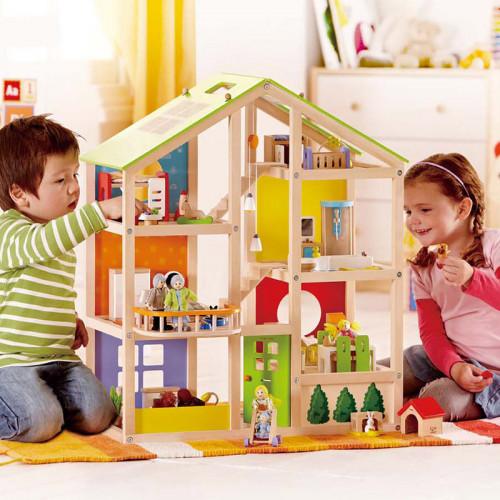 All Season Wooden Dollhouse -Furnished