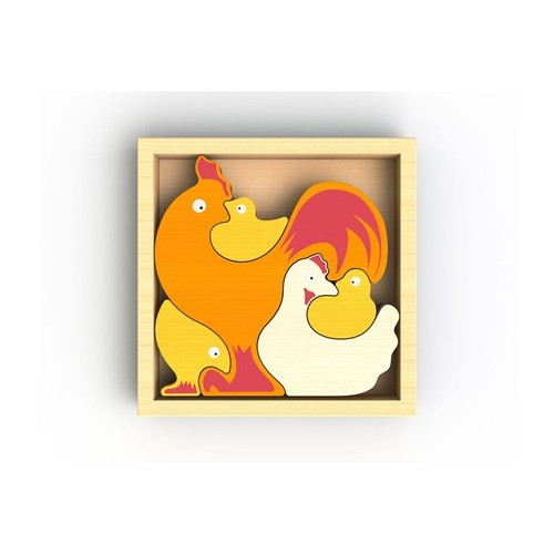 Wooden Chicken Family Puzzle