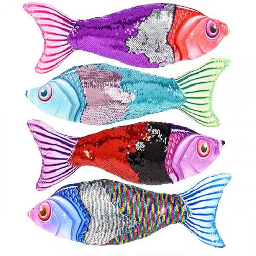 "14"" Sequin Fish Pillow"