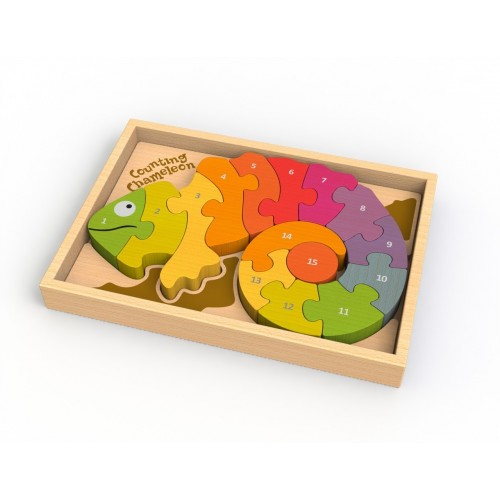 Wooden Counting Chameleon Math Puzzle