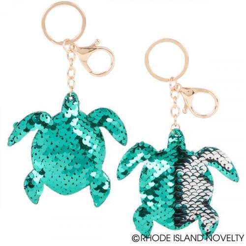 """Sequin Sea Turtle Keychain (3.33"""")"""