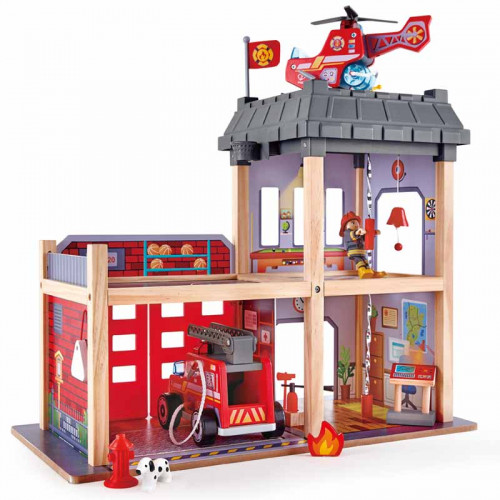Hape Fire Station Playset Truck and Helicopter Rescue