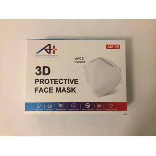 Certified AM-KN95 Disposable 3D Protective Face Mask Case of 10