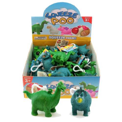 Two Squishy Pooping Dinosaur Keychain
