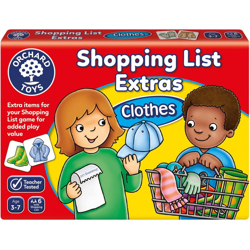 Shopping List Memory Game - Clothes