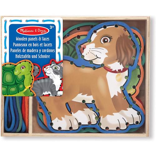 Wooden Panels & Laces  Pets - Melissa & Doug