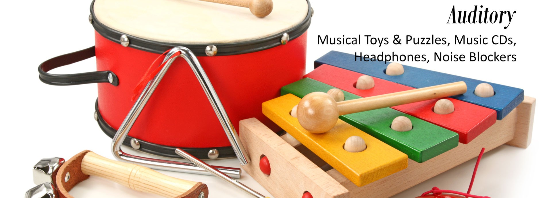 Auditory: Musical Toys & Puzzles, Music CDs, Headphones, Noise Blockers